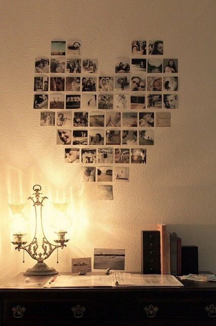photo wall in a love heart shape - good idea for photos of close friends and family
