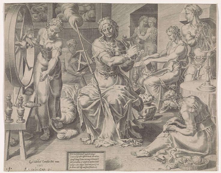 De Deugdzame vrouw spint, Dirck Volckertsz Coornhert, Maarten van Heemskerck, Cornelis Bos, 1555