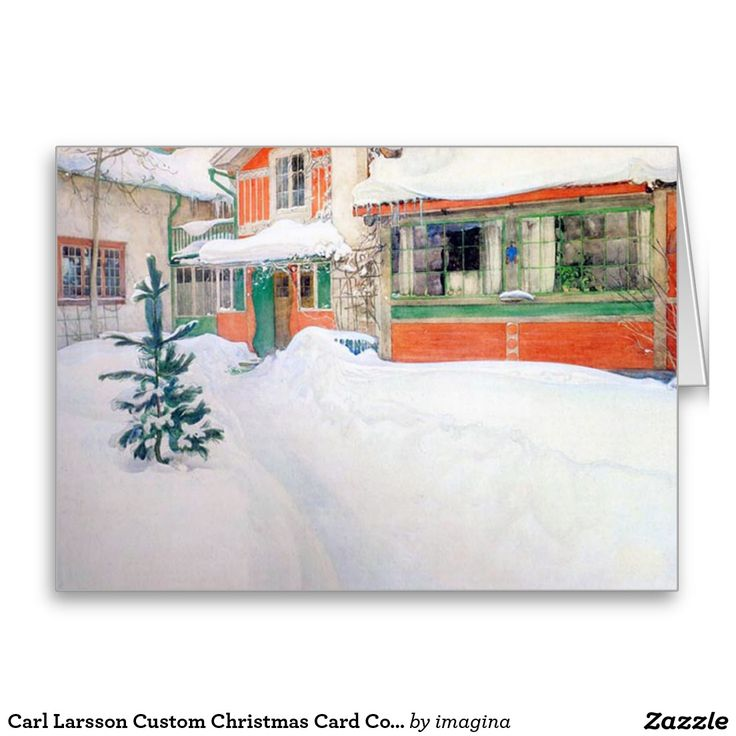 Carl Larsson Custom Christmas Card Cottage in Snow