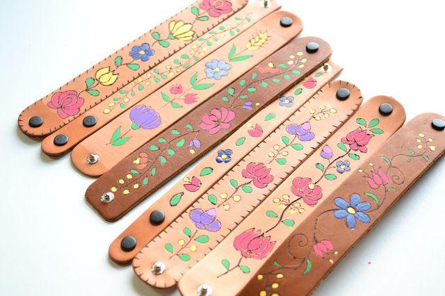 Plenty of Paprika: Folk Art Burnt & Painted Leather Cuffs