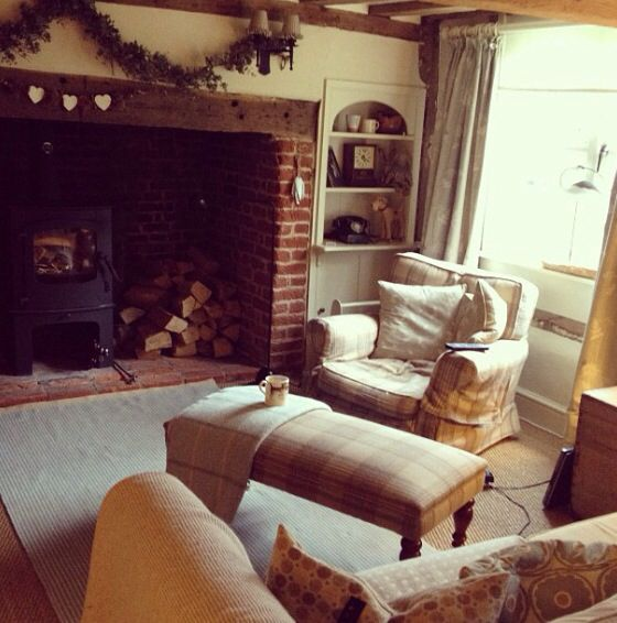 Cosy Lounge Inglenook Fireplace Hop Garland Log Burner Check Tartan FireplaceFireplace IdeasFireplacesLounge DecorLounge