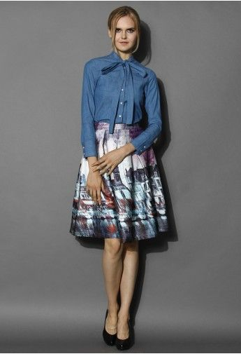 Elusive Riverside Print Pleated Midi Skirt