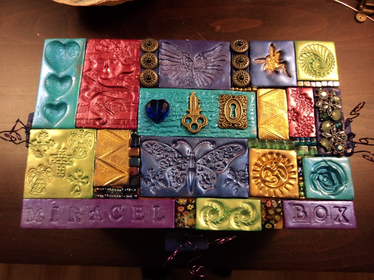 This Is A Miracle Box Made With Polymer Clay Tiles Imprinted Using Ons Jewely