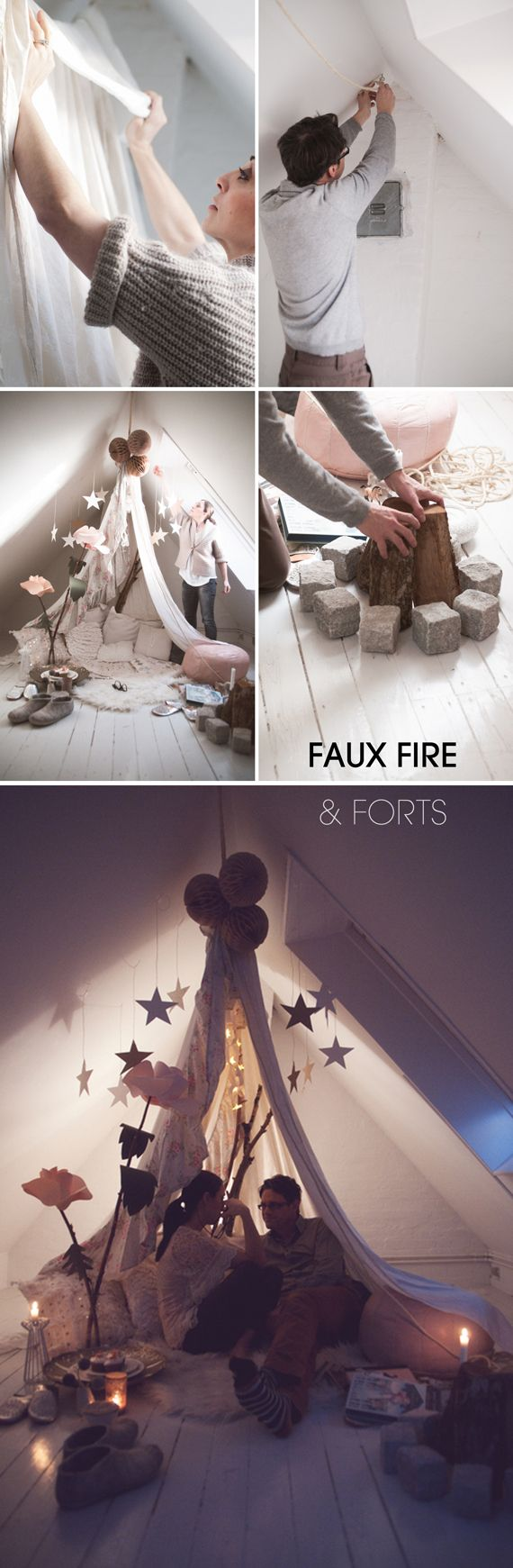 #ForTheHome | #DIY indoor Fire & Fort | http://pinterest.com/JuhiVibhakar/my-fictitious-palace-interior-design-and-home-deco/