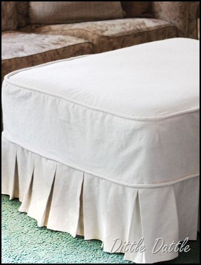 DIY Ottoman Slip Cover --- I would like to do this with my salon table so  it'll be toddler proof - Best 25+ Ottoman Slipcover Ideas On Pinterest Ottoman Cover, Rag