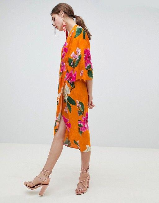 adfb114abdc DESIGN Kimono Midi Dress In Bold Floral Jacquard