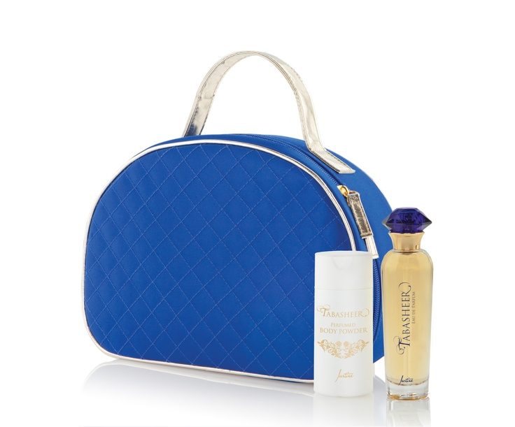 Vanity Bag  Microfibre with PU trim  25 cm L x 18.5 cm H x 9 cm W  Code 7268    Tabasheer Perfumed Body Powder  Delicately scented powder leaves skin soft  and silky. Dust on lightly after bathing.  50 g   Code 6222    Tabasheer Eau de Parfum  50 ml   Code 4486  http://www.justine.co.za/PRSuite/home_page.page