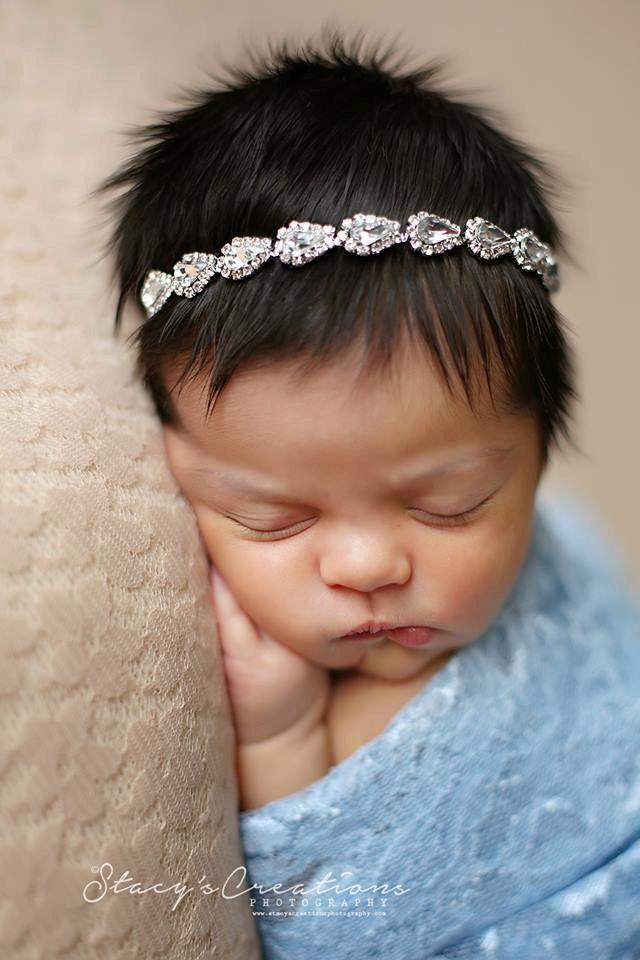 Quinlee, Rhinestone Headband, Newborn Headband, Newborn Tie Back, Baby Headband, Baby Halo Baby, Newborn Prop, Christening Headband