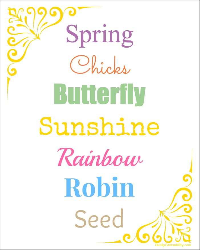This cute 8×10 printable Spring Words sheet is perfect for those looking for a low-cost seasonal decoration!