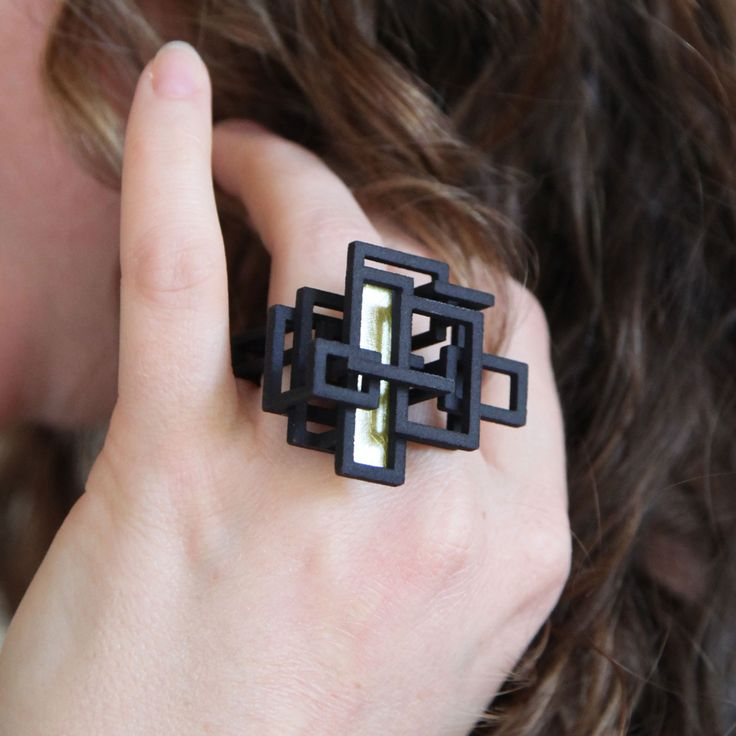 Open Square Ring // Black with gold accent  By Melissa Borrell