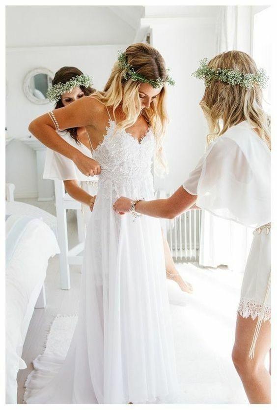 A-line Spaghetti Straps Lace Top Beach Wedding Dresses