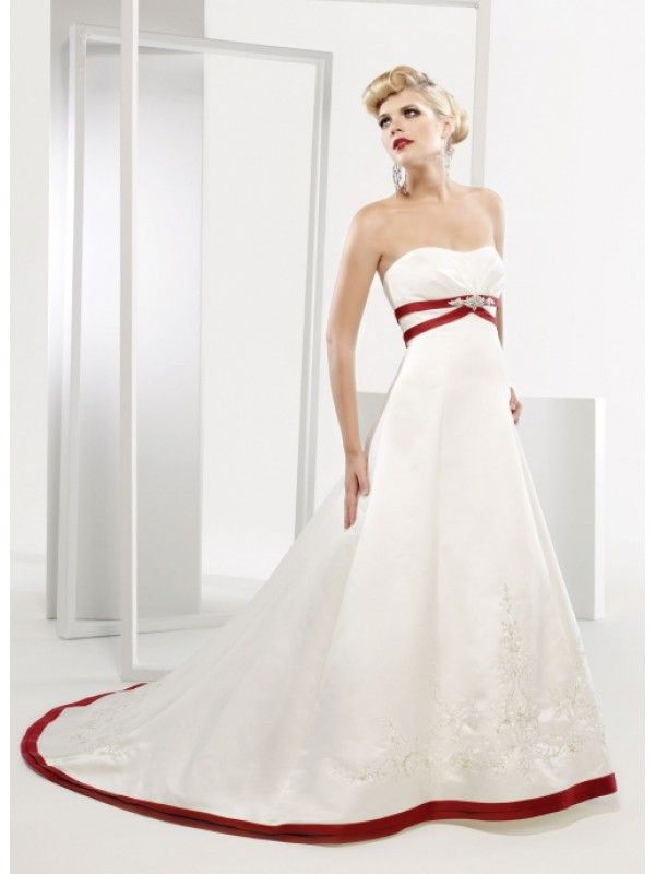 Wedding dress with red accent jodi 39 s wedding pinterest for White wedding dress with black accents
