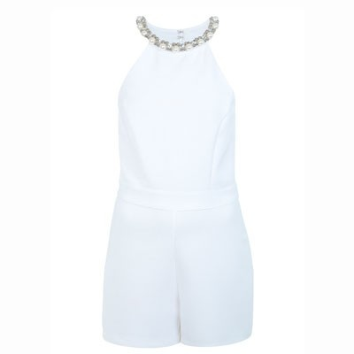 Miss Selfridge embellished trim playsuit