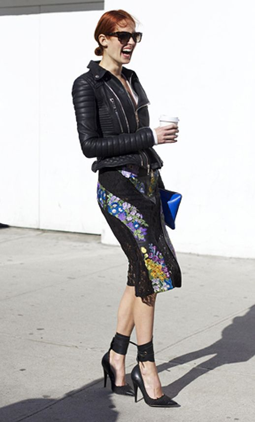 that jacket and those heels. #streetstyle taylor tomasi hill