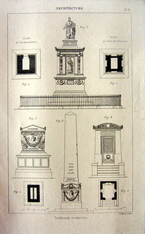 Amazing antique modern tombs engraving 1852 by LyraNebulaPrints, $23.95