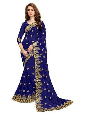 eaf290a688 IndianEfashion Embroidered Fashion Georgette Saree(Dark Blue ...
