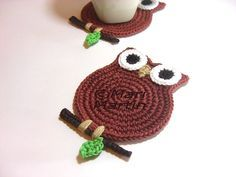 crochet owls patterns for free | new design owl coasters in terracotta with a green leaf