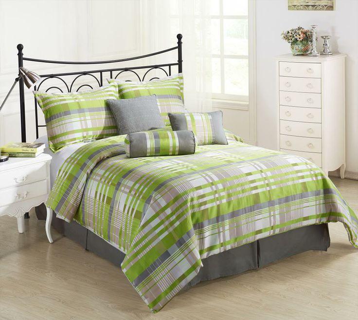 wonderful gray green bedroom bedding | Retro 7pc Comforter Set Green, Grey, Coffee, Cream yarn ...