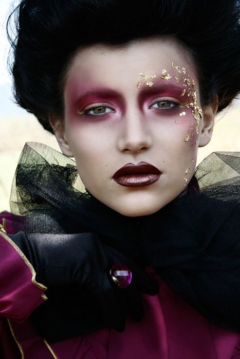 Avant garde makeup, gorgeous plum and crystals