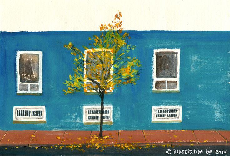 A fallen leaf tells the season.illustration by enzo hwang