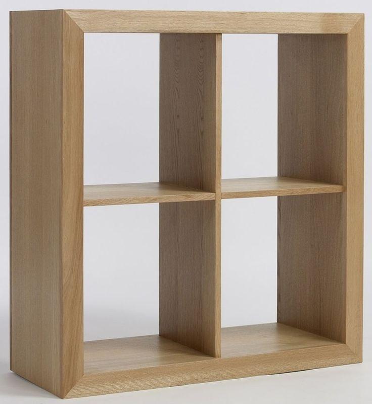 Compton Solid Oak Furniture 2 Plus 2 Cube Storage Bookcase Unit