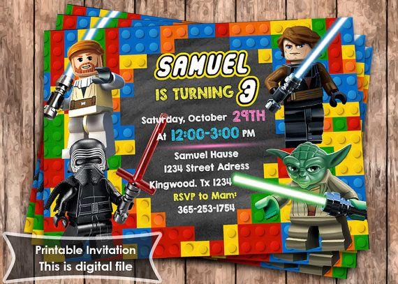 Invitación de LEGO. Invitación de Star Wars. Fiesta de cumpleaños de LEGO…