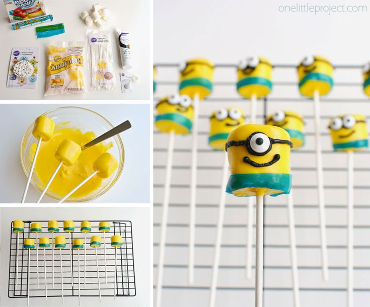 Minion Marshmallow Pops - These minion marshmallows are easy to make and they look SO CUTE!
