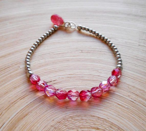 Roselle skinny gemstone beaded bracelet fuchsia hot pink