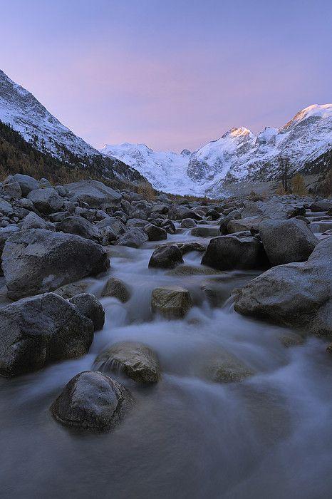 View from Val Morteratsch to Morteratsch Glacier, Piz Morteratsch, Piz Bernina -  Engadin, Switzerland