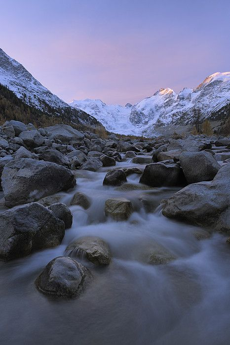 View from Val Morteratsch to Morteratsch Glacier, Piz Morteratsch, Piz Bernina, Engadin, St  Moritz, Graubunden_ Switzerland