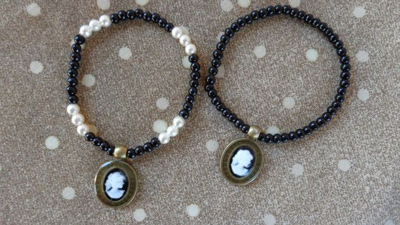 Cameo white-black girl bracelets. Beautiful by ArtisticBreaths