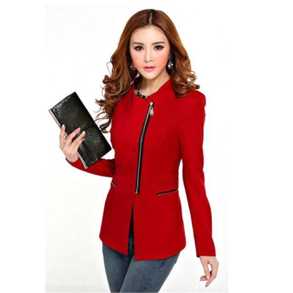 Nuevo mujeres moda informal ceñido de Cremallera Negocios Blazer Traje Chaqueta Abrigo Prendas de abrigo