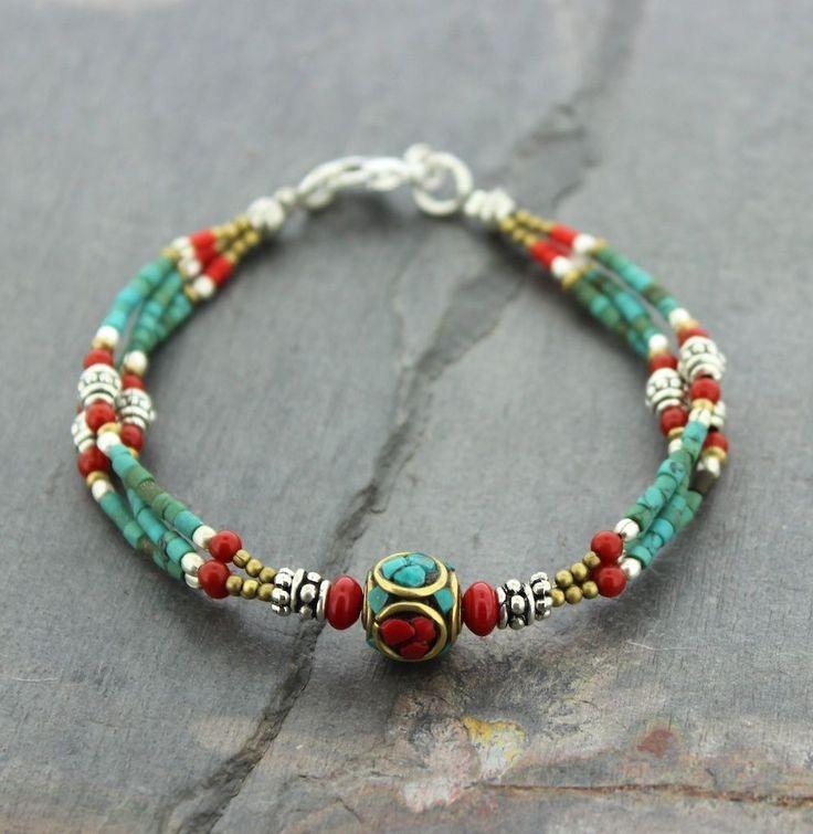 Traditional Tibetan Beaded Bracelet Vintage Beads - Dharmashop.com