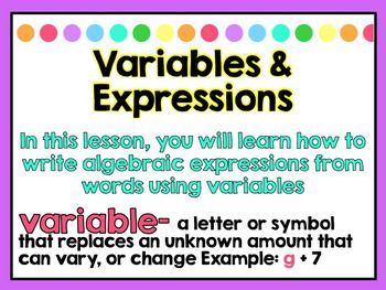 ~Please look at the actual preview file. The thumbnails do not give it justice!~ :)This Power Point can be used to teach Variables & Expressions. It can be used with the EnVision Math series for 5th Grade Math. (Topic 6 Lesson 1: Variables and Expressions), but you don't have to have the series in order to use the Power Point.