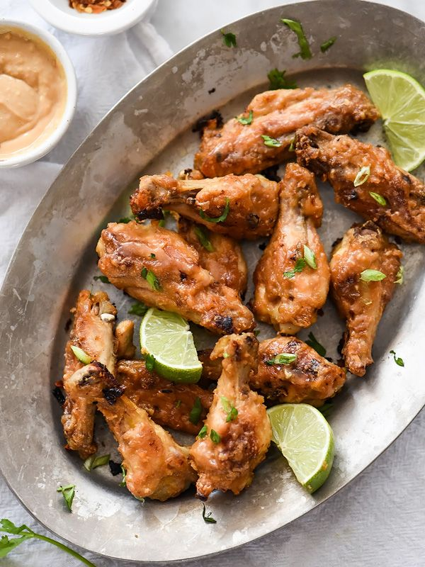 Baked Chicken Wings with Thai Peanut Sauce