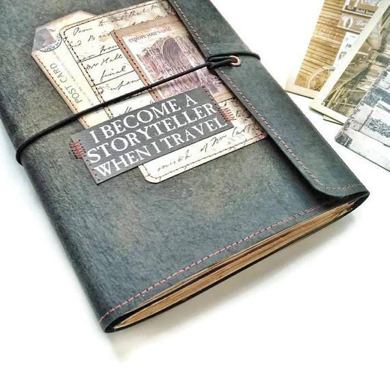 Vintage Travel Junk Journal a5 Art Journal Writing book