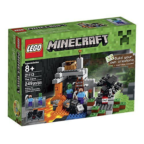 Venture into The Cave on a dangerous quest for vital resources! Wield the iron pickaxe to dig and battle against hostile zombie and spider mobs. Blast out valuable ores and minerals with the TNT and combine the flowing water and lava to create precious obsidian! When you're done battling and mining, restore your energy levels with the chest of bread. Proceed with caution! Rebuild the set for more LEGO Minecraft creations! Includes 2 minifigures with assorted accessories: Steve and a zombie…