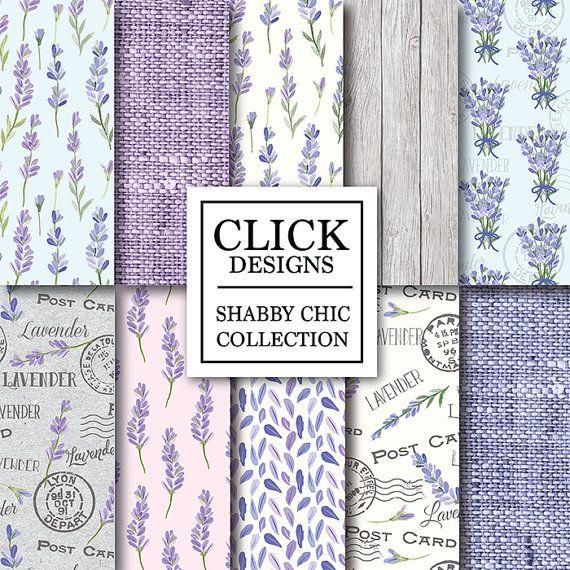 "Shabby Chic Digital papel: ""SHABBY CHIC lavanda"" scrapbook vintage Floral fondo…"