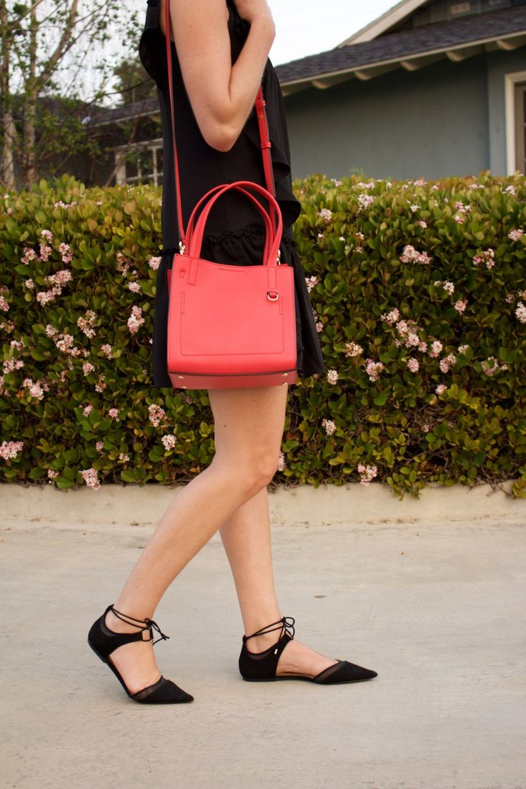 red cross body bag and lace up flats