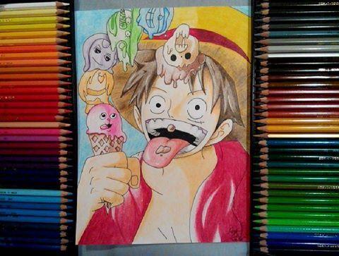Luffy, Polycolors, One Piece, art, anime