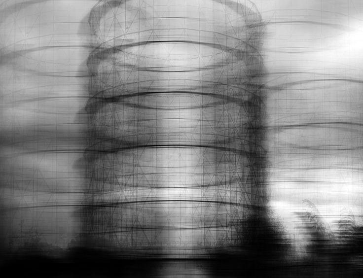 Molte delle mie fotografie rappresentano architetture, giganti e immobili, a cui ho cercato di aggiungere un movimento, un accenno di azione, cambiando la loro identità ed estrapolandole dal contesto in cui si trovano. Così in GAZOMETRO #2 (Roma, Gazometro) traspare la scia di due anime strette i Fotografia Paesaggio urbano / Architettura Digitale - Artista claudio de micheli (Roma Italia) -  Foto & Grafica Digitale Premio Celeste 2012