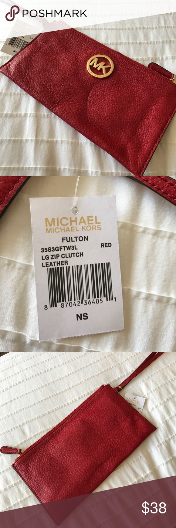 Michael Kors Fulton Clutch New / Never Used / Red Large Zip Clutch MICHAEL Michael Kors Bags Clutches & Wristlets