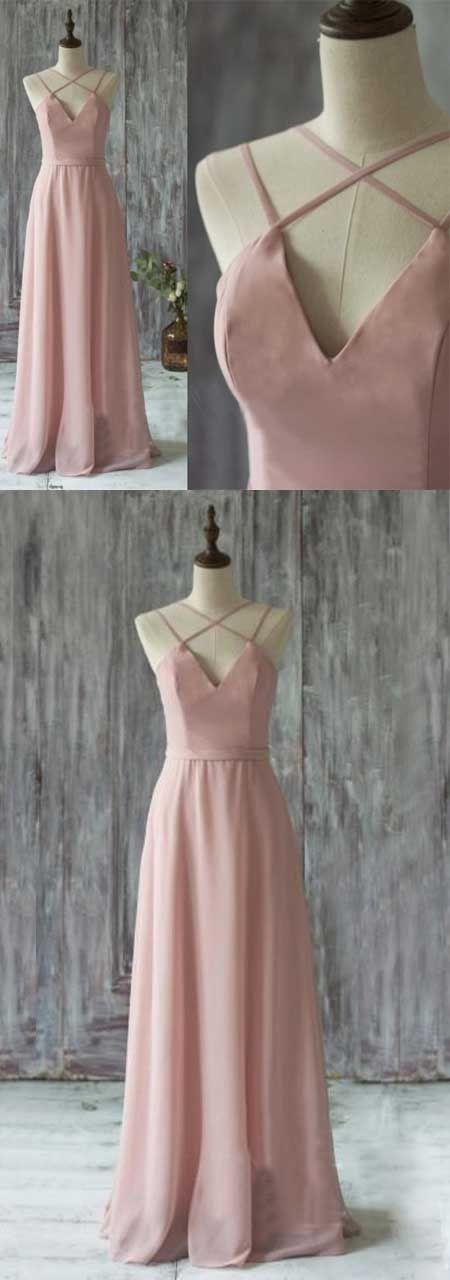 Simple A-line Blush Prom Dress - V-Neck Criss-Cross Straps Floor Length Pleats