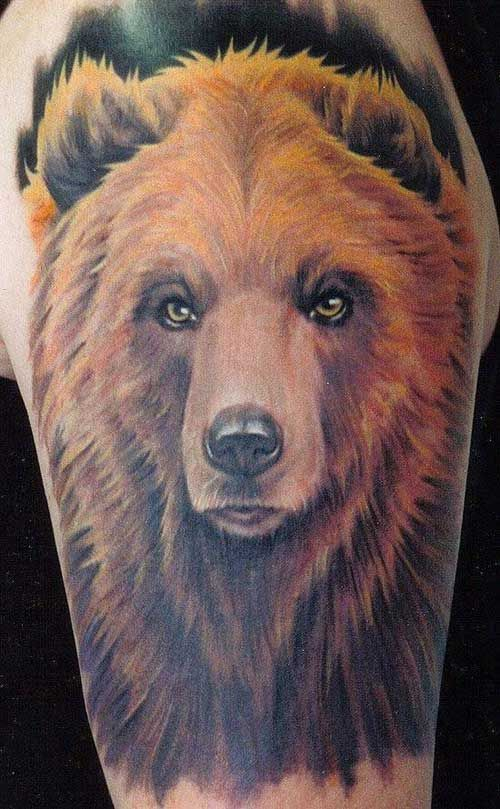 bear tattoo. It's like a photo. Amazing tattoo artist!