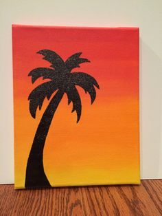 Palm Tree Sunset Silhouette By Customcanvasbysarah On Etsy