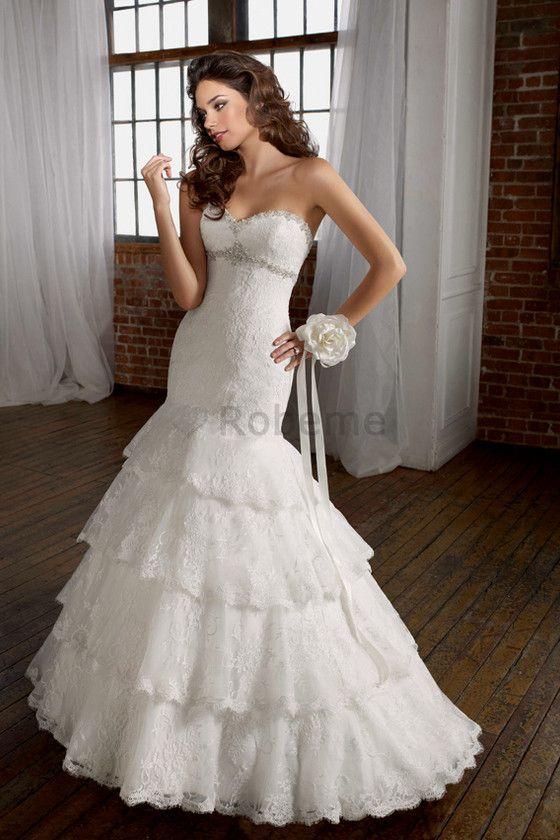 Robe de mariée vintage romantique sexy de col en cœur avec gradins
