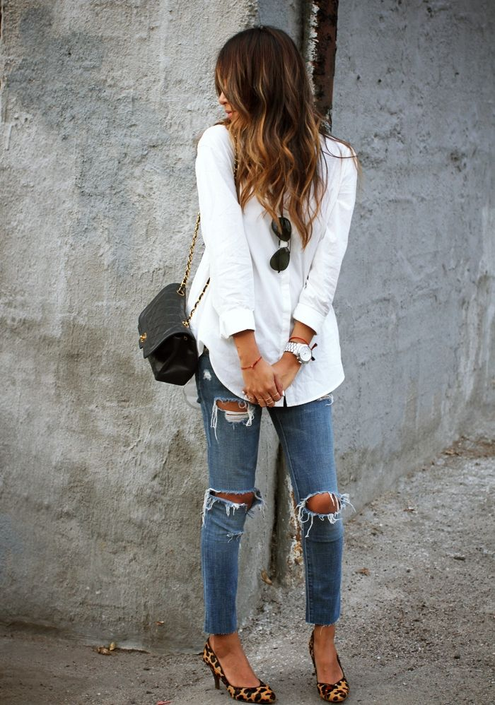 ripped jeans, classic white button down, cheetah flats, black crossbody, aviators