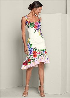 Discover FLORAL PRINT DRESS in White Multi online at Venus at an affordable pric…