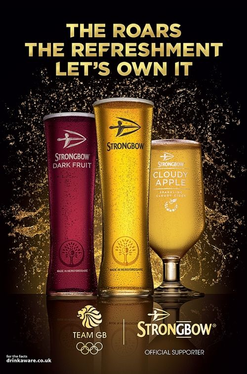 Strongbow Cider Range Advertising Official Supporter of Team GB 2016 Olympics - The Roars The Refreshment Let's Own It