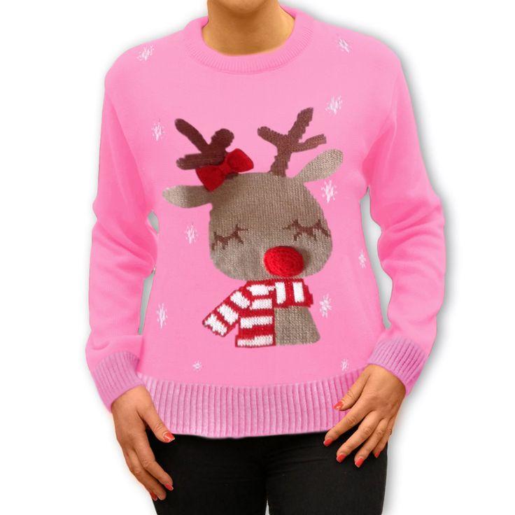 #Śliczny różowy #sweterek z #reniferem, ucieszy każdą Panią jeżeli znajdzie go pod #choinką. http://swetryswiateczne.pl/pl/